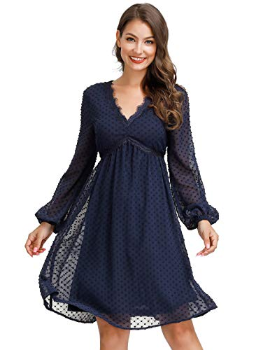 JASAMBAC A-line Formal Dress for Women Long Sleeve Mini Dress Polka Dot Dress Size L Navy