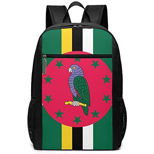 WlyFK Rugzak Dominica Vlag Unisex Aangepaste Schoudertassen, Volwassene Student Dubbele Rits Sluiting Casual School Tas