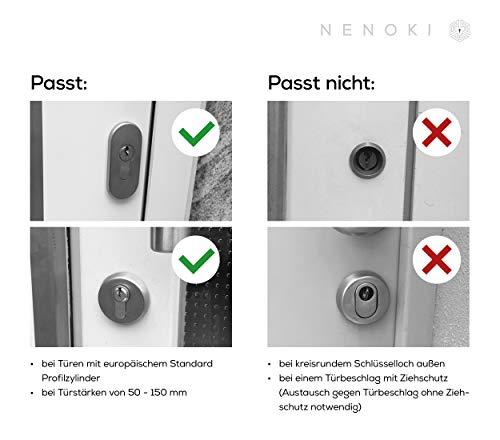 NENOKI Smartlock - elektronischer Schließzylinder mit PIN-Code, RFID- & APP-Steuerung (elektronisches Türschloss), 40/30mm (aussen/innen) - 6