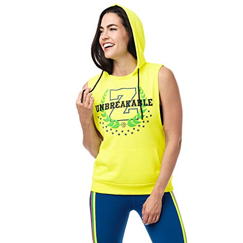 Zumba Sudadera sin Mangas con Capucha Workout Top Deportivo Mujer Fitness con Diseño Gráfico, Caution Z, XS