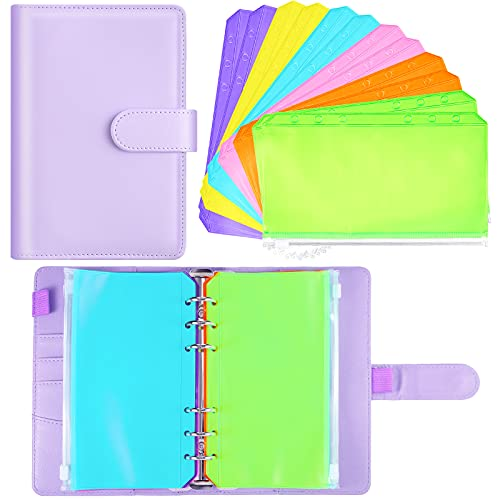 A6 PU Leather Notebook Binder Cover Purple Refillable Planner Journal Binder with 12 Piece Waterproof Binder Pocket Loose Leaf Bags PVC Pouch Document Filing Zipper Bags for Budget System Scrapbooking