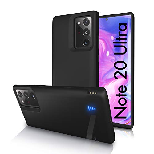 [Upgraded] SlaBao Galaxy Note 20 Ultra Battery Case, Priority Charging Case with Kickstand & USB, 6000mAh Portable Backup Charger Case for Samsung Note 20 Ultra 5g - Black