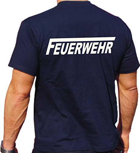 Feuer1 T-shirt avec l'inscription fluorescente Feuerwehr avec un long \