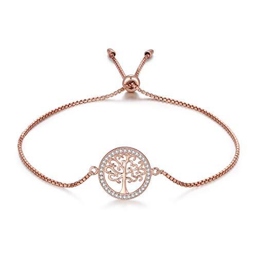 MEGA CREATIVE JEWELRY Damen Armband Rosegold Lebensbaum aus 925 Sterling Silber mit Kristalle Schmuck Geschenke für Frauen
