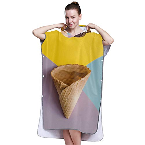 Yushg Girl Fashion Art Ice Cream Poncho Surf Towel Adult Towel Poncho Changing Towel Poncho Surf for Surfing Swimming Bathing One Size Fit All