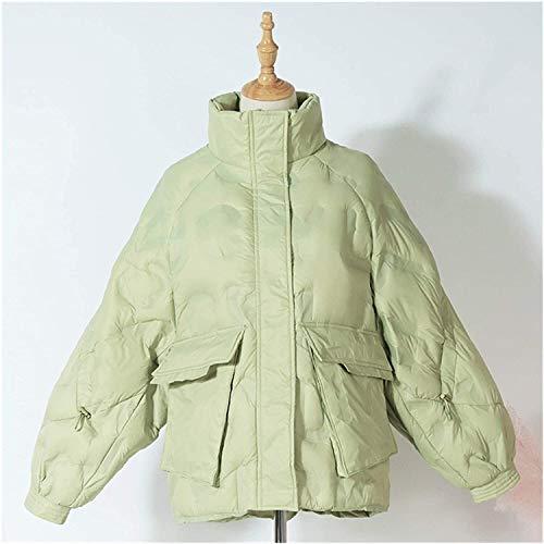 SDGDFGD Chaqueta Plumifero Abrigo Abajo de Las Mujeres Invierno Casual Abrigo de la Capa Verde del Soporte Corto Collar Empacable de la Chaqueta de Abajo para Abajo (Color : Green, Size : S)