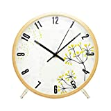 ALEENFOON 8.6 Zoll Holz Uhr Modern Leise Wanduhren Tischuhr für Wohnzimmer Küche Ohne Tickgeräusche Innenuhr Nicht Tickende Wanduhren Hängende Uhr (Blume)
