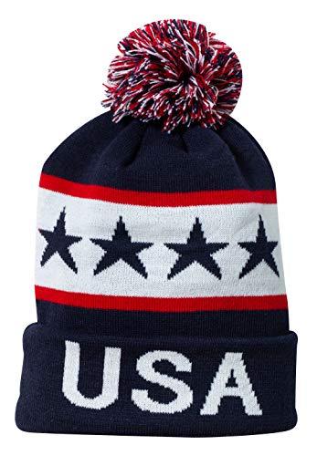 USA United States of America Patriotic Winter Knit Pom Pom Beanie Hat with Cuff (Blue)