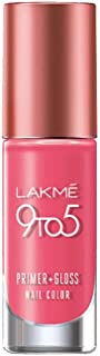 Lakme 9 to 5 Primer + Gloss Nail Colour, Rose Crush, 6 ml