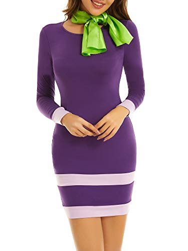 MSABSIC Daphne Adult Costume Round Neck Halloween Sexy Bodycon Dresses for Women Purple L