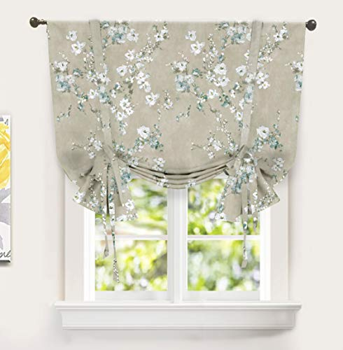 DriftAway Mackenzie Blossom Floral Pattern Tie Up Curtain Room Darkening Thermal Insulated Window Curtain Adjustable Balloon Curtain for Small Window Rod Pocket 45 Inch by 63 Inch Blue Gray
