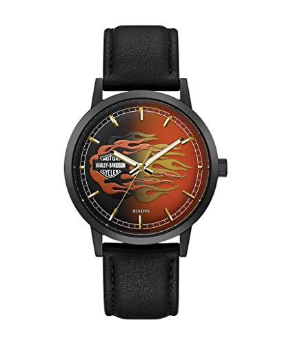 Harley-Davidson 78A123 - Reloj de pulsera para hombre (correa de piel), diseño de llamas metálicas, color negro