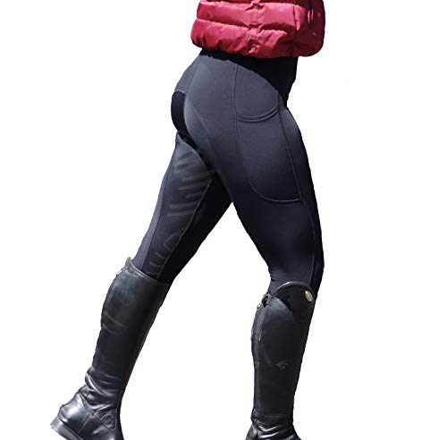 Turners Black Equestrian Damen-Leggings, Silikongriff, weich, für Reiten/Fitnessstudio/Yoga, Leggings M Schwarz