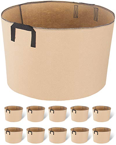 iPower 10-Pack 20 Gallon Grow Bags Nonwoven Fabric Container with Strap Handles