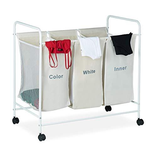 Relaxdays Separador de la Colada, Tres Compartimentos, con Ruedas, 100L, 76 x 80 x 46 cm, 1 Ud, Beige, Poliéster, Hierro, PVC