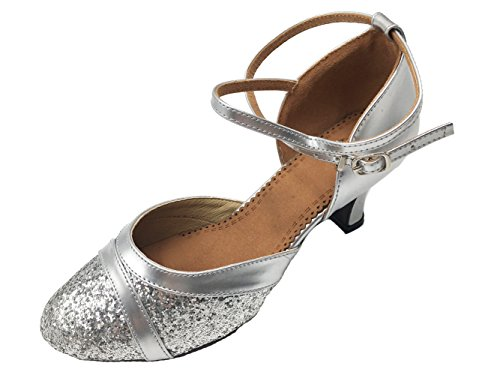 Honeystore Damen's Pailletten Runde Toe Latein Tanzschuhe Silber 3 UK