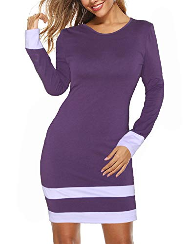 Aphratti Women's Long Sleeve Halloween Costume Cosplay Adult Bodycon Mini Purple Dress,Purple,XX-Large