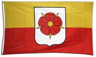 Fahne / Flagge Deutschland Stadt Detmold Lippe mit Rose + gratis Sticker, Flaggenfritze®
