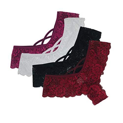 Dylung Unterhosen Damen Sexy Hose Pack Damen Spitze Wäsche Dessous Verführerisch String Fit Lingerie Soft Tange Thong Underwear Set