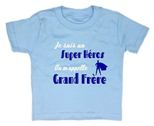Les lutins de Camille-T-Shirt Humour garçon bébé/Enfant, Je suis Un Super héros, on m'appelle Grand frère (2 Ans, Bleu)