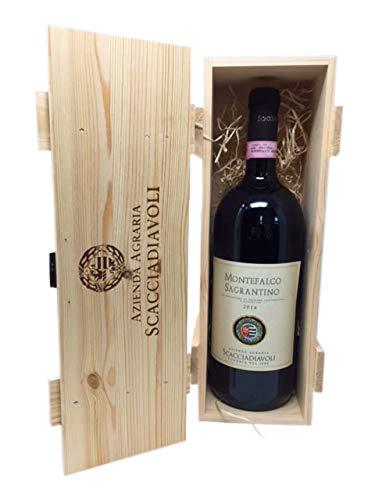 Scatola in legno con vino rosso Sagrantino di Montefalco DOCG