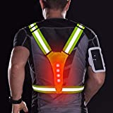 Chaleco reflectante LED para correr, 3 modos de iluminación, equipo de seguridad elástico ajustable para hombres/mujeres, chaleco reflectante para correr de noche, ciclismo, impermeable Green