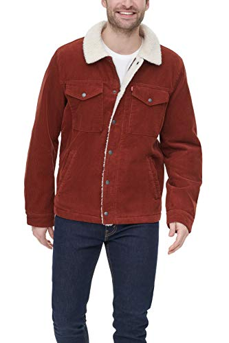 Levi's Men's Corduroy Sherpa Lined Trucker Jacket, Rust, X-Large