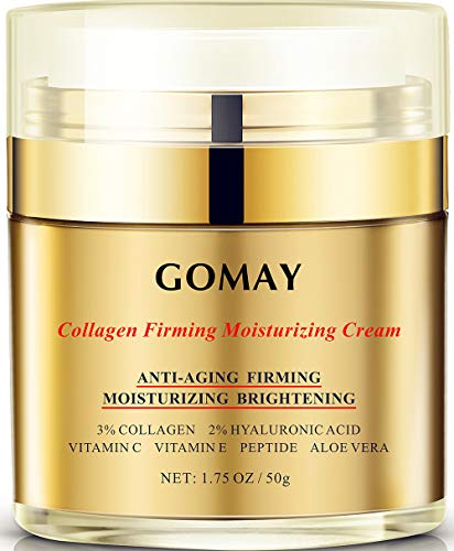 Face Cream for Anti-aging, Anti-oxidation, Moisturizing and Repairing, 3% HYdrolyzed Collagen, 2% Hyaluronic Acid, Polypeptide, Vitamin C and E