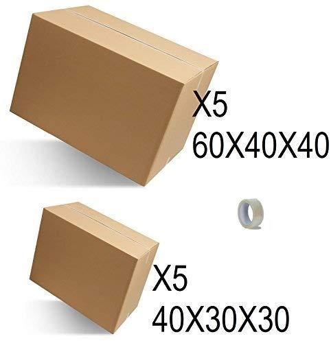 IMBALLAGGI 2000 - Kit Trasloco Piccolo - Contiene 5pz Scatoloni 60x40x40 e 5pz 40x30x30, 1 Rotolo di Nastro Adesivo