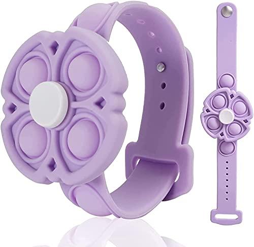 johgee Fidget Pulseras Juguete 360 Spin Descompresión Burbuja Pulsera Dedo Pulsera Juguete Push Pop Stress Reliever Pulsera de Silicona para niños y Adultos (Púrpura)