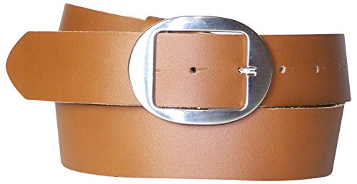 FRONHOFER Damengürtel 4 cm, Gürtel mit ovaler Gürtelschnalle silber, Sommergürtel, Jeansgürtel, 17881, Größe:Körperumfang 95 cm/Gesamtlänge 110 cm, Farbe:Cognac