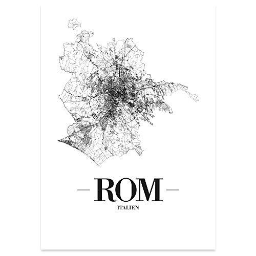 JUNIWORDS Stadtposter, Rom, Wähle eine Größe, 30 x 40 cm, Poster, Schrift A, Weiß