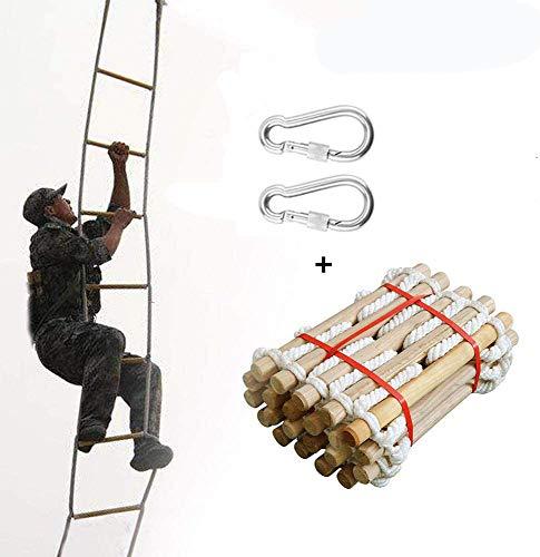 Ridecle 5m Rettungsleiter Feuerleiter Fluchtleiter Kletterleiter aus Holz Outdoor Weiche Nylon Strickleiter für Kinder und Erwachsene Fenster Balkon Fluchttechnik Sicherheitsgerät