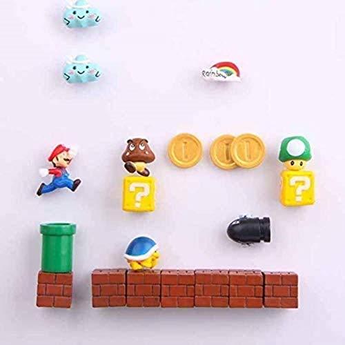 ZP-MIN 63 imanes 3D de Super Mario Bros para nevera, pegatinas divertidas para niños y niños, regalo de cumpleaños, 40 combinaciones, 19 combinaciones