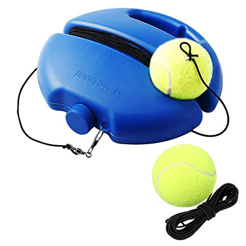 SIEBIRD Tennis Trainer Rebound Ball - Solo Tennis Self-Study Practice Trainer Gear - Complete Tennis Rebounder Tennis Training Equipment Kit with 2 Elastic Ropes & 2 Balls, 1 Trainer Base