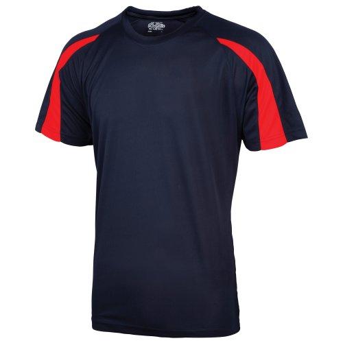 Just Cool - Camiseta Deportiva Transpirable tecnología Neoteric™ de Manga Corta para Hombre - Running/Gym/Deporte/Futbol (2XL) (Azul Marino/Rojo Fuego)