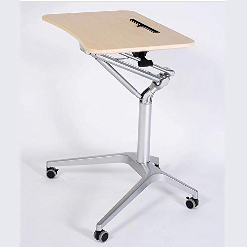 CHOUE Aluminum Alloy Laptop Stand Adjustable Height with Yellow Density Board,Adjustable Height, Lockable Casters,Folding Study Table for Bed,Bed Trays