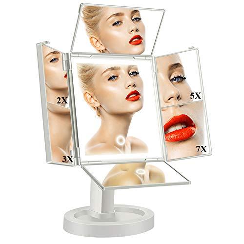 Qimaoo Schminkspiegel mit Licht 34 LED Kosmetikspiegel mit Beleuchtung 4 Seiten Faltbar, Tischspiegel mit Touchschalter Licht 360° Drehbar Make up Spiegel 2X 3X 5X 7X für Schminken Rasieren