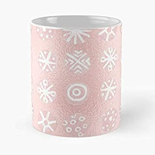 Blush Pink White Hand Painted Abstract Winter Snowflakes Classic Mug -11 Oz Coffee - Funny Sophisticated Design Great Gifts White-situen.