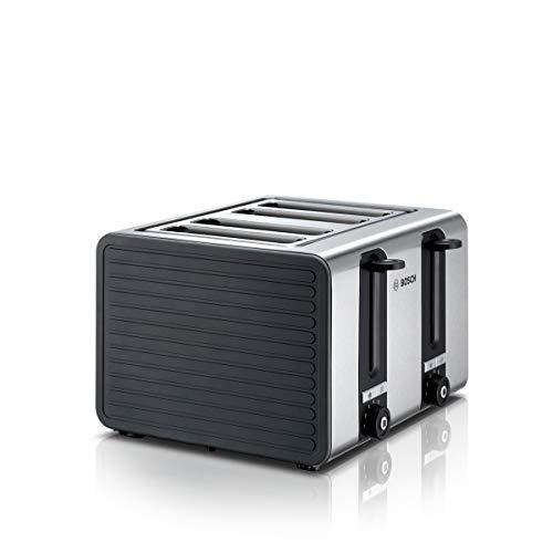 Bosch TAT7S45 4-Schlitz Toaster, Auftau/Aufknusperfunktion, automatische Brotzentrierung, Abschaltautomatik, 1800 W, Edelstahl/schwarz
