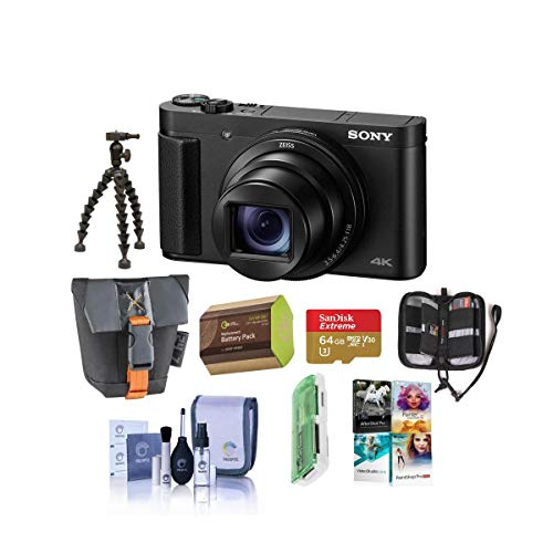 Sony Cyber-Shot DSC-HX99 18.2MP Compact Digital Camera with ZEISS 24-720mm Zoom Lens, Black - Bundle with Camera Case, 64GB MicroSDHC Card, Spare Battery,...