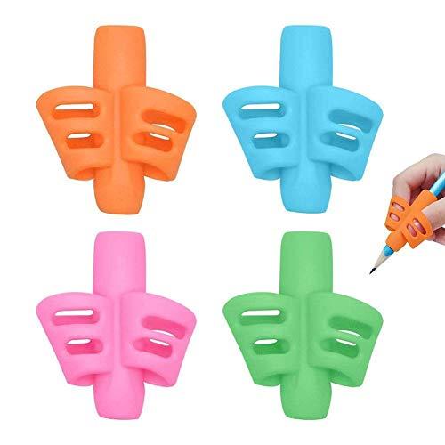 4Pcs Pencil Grip Two Finger Silicone Pen Holder Ergonomic Writing Training Aid Handwriting Correction Tool for Children Preschoolers Kids (Random Color)