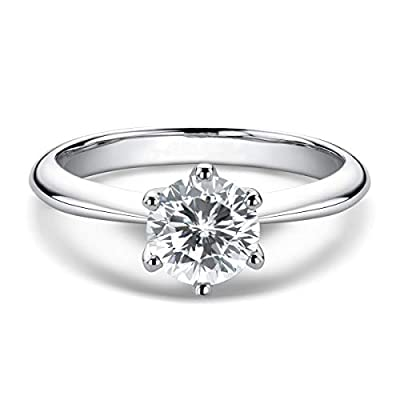 Promise Rings for Her, WOAINI Moissanite Engagement Ring for Women 1 Carat Round Cut Sterling Silver Wedding Band Ring Brilliant Solitaire Infinty for Anniversary Valentine's Day (4)