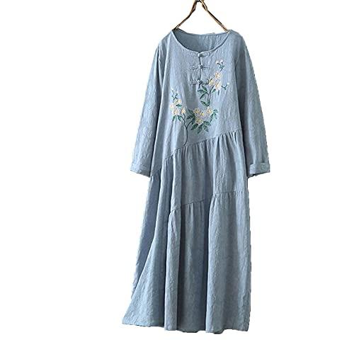 SADWQ Retro Estilo Chino Redondo Cuello Redondo algodón y Ropa de Cama de Siete Puntos de Siete Puntos Falda Larga(Azul Claro,un código)