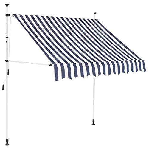 vidaXL Markise Einziehbar Handbetrieben Wasserabweisend Sonnenschutz Klemmmarkise Balkonmarkise Terrasse Balkon Garten 200cm Blau Weiß Gestreift