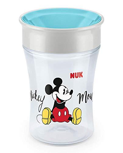 NUK Magic Cup Trinklernbecher, 360° Trinkrand, auslaufsicher abdichtende Silikonscheibe, 230ml, 8+ Monate, BPA-frei, Mickey Mouse Edition, türkis