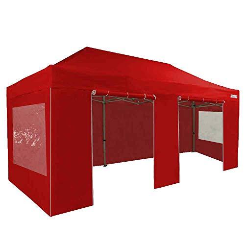 FRANCE-BARNUMS Tente Pliante Barnum Pliant Tonnelle Professionnelle 3x6m 18m² En Aluminium 45mm Toit Polyester 320g/m² et Pack Fenêtres Polyester 300g/m² (4 murs :1 avec porte, 2 avec fenêtre) (Rouge)