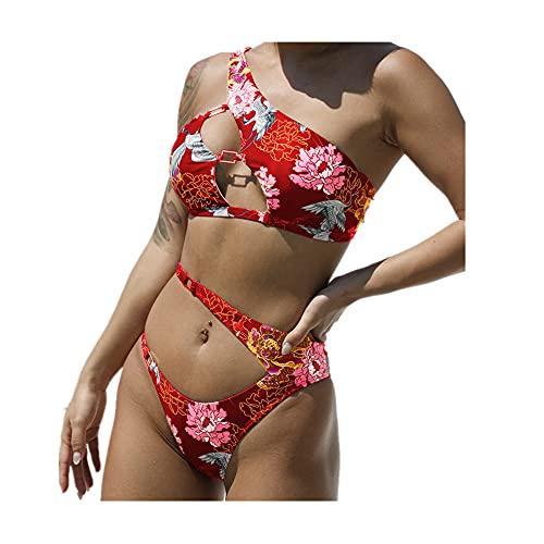 Costume da bagno sexy da donna estivo stampa Hollow Bikini Beachwear Rosso S