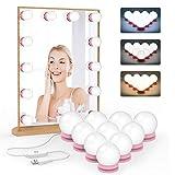 BTF-LIGHTING Espejo de maquillaje Vanity LED con kit de 10 bombillas regulables Puerto de carga USB con 3 niveles de brillo ajustable Luces de tocador de maquillaje estilo Hollywood de 5 m Base rosa