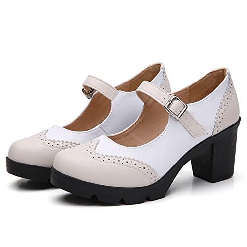 Zapatos de mujer retro de piel sintética Mary Janes Chic con hebilla de tacón medio y correa Oxford, para fiesta, oficina, para mujer